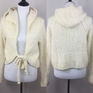 Free People Ivory Hoodie Cardigan L/S Sweater M